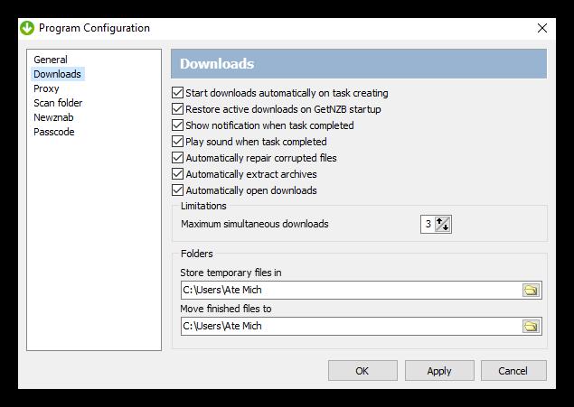 Getnzb Newsreader Program Configuration Downloads Setting