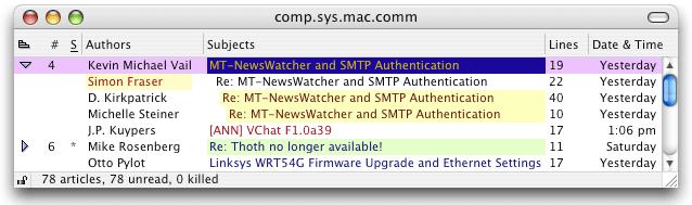 Mt Newswatcher Filter Articles