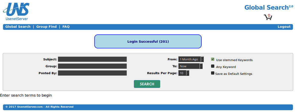Usenetserver Search Login Screen